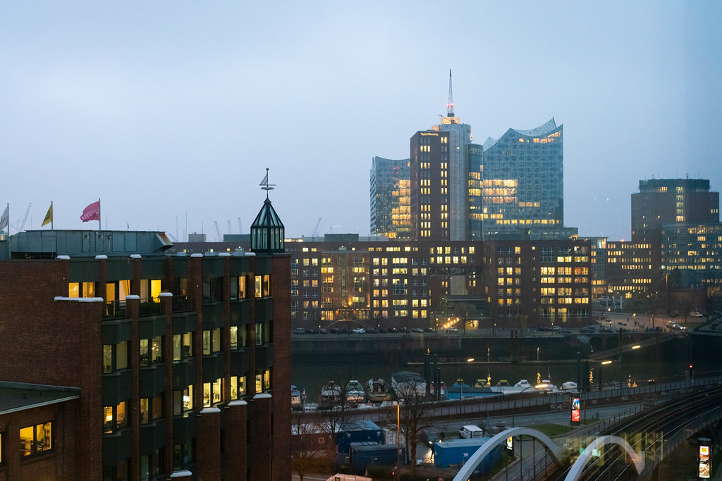 View at the city center of Hamburg with Elbphilharmonie, water canals and U-bahn rails