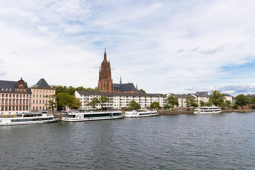 View of Frankfurt Cathedral from the opposite bank of the river Main