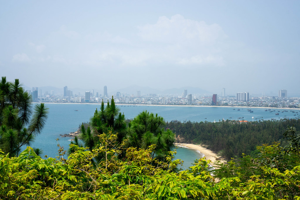 View of Hidden Beaches, Fishing Boats and the Skyline of Da Nang from Linh Ung Pagoda on Son Tra Island in Da Nang, Vietnam