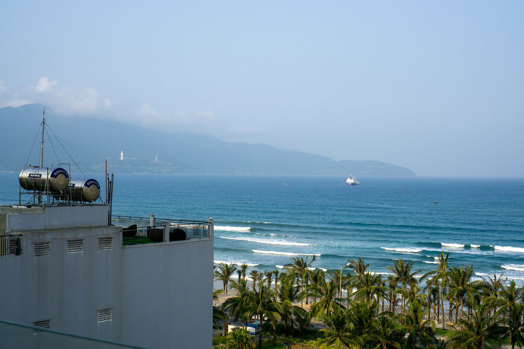 View of Linh Ung Pagoda on Son Tra Peninsula, My Khe Beach and the East Vietnam Sea from a Hotel in Da Nang, Vietnam