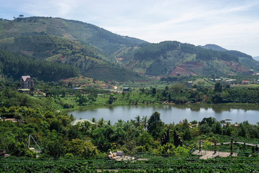 View of Photo Walkway, Mountains, Lake and Coffee Plantation at Me Linh Cafe in Da Lat, Vietnam