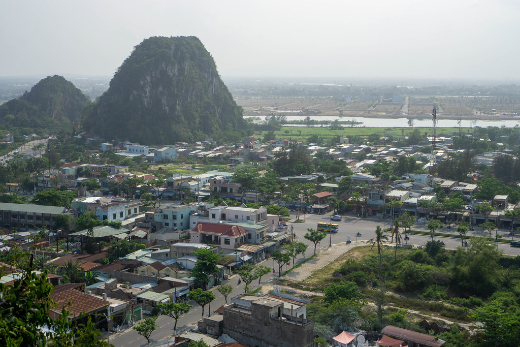 Viewpoint from the Top of Marble Mountains with View of Streets, Buildings, River and Limestone Rocks in Da Nang, Vietnam