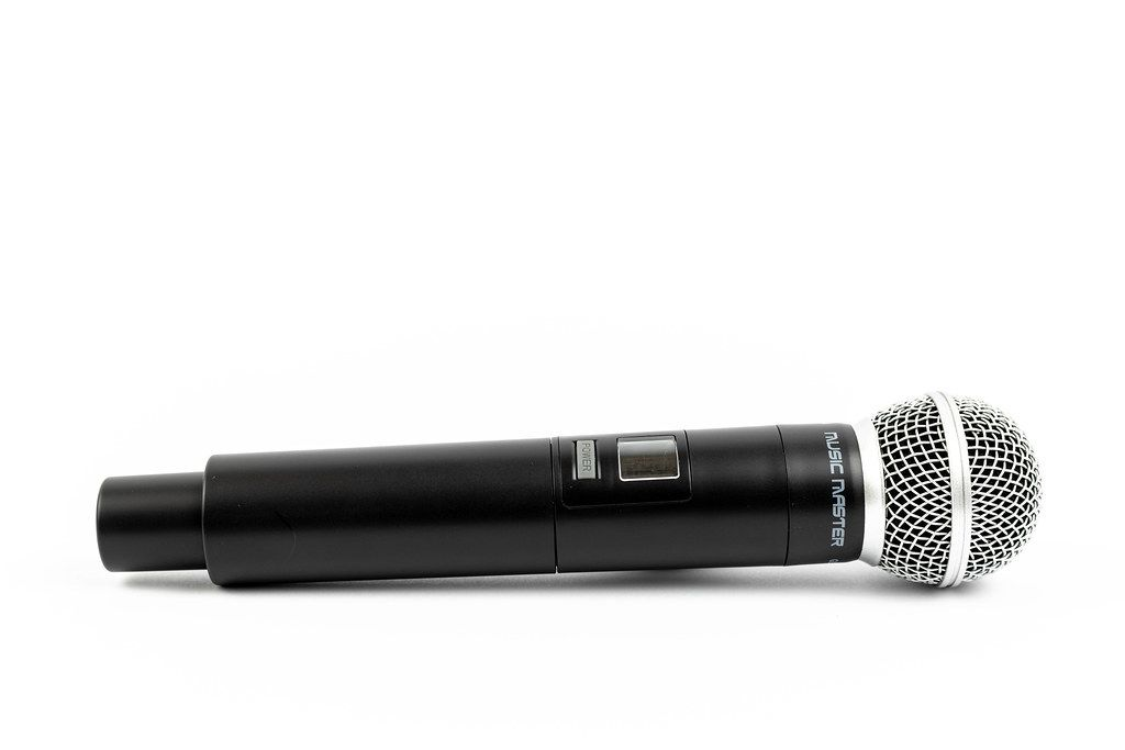 Vocal Microphone on the white background with copy space
