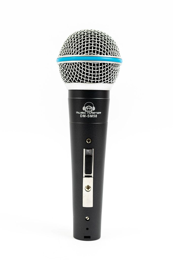 Vocal Microphone standing above white background