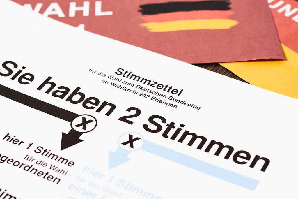 Wahlzettel zur Landtagswahl Bundestagswahl 2021 ausf