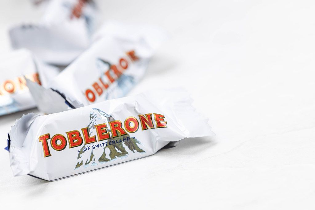 White Chocolate Toblerone with copy space above white background