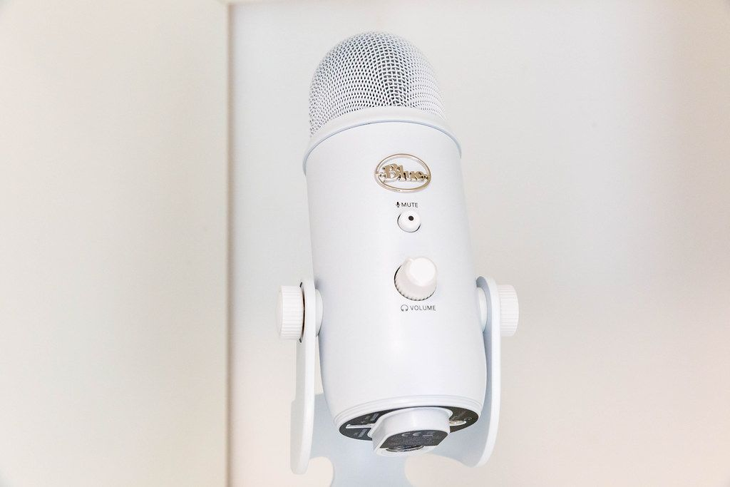 White Yeti USB microphone by Blue. Designed to create high-quality recordings with the computer