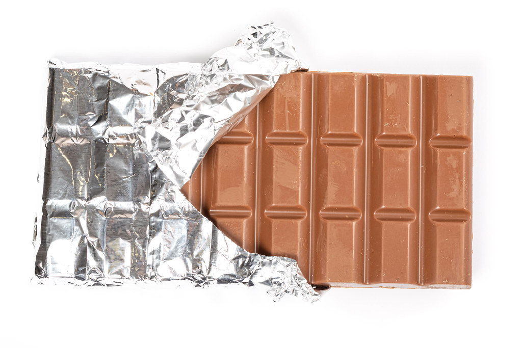 Whole milk chocolate with foil