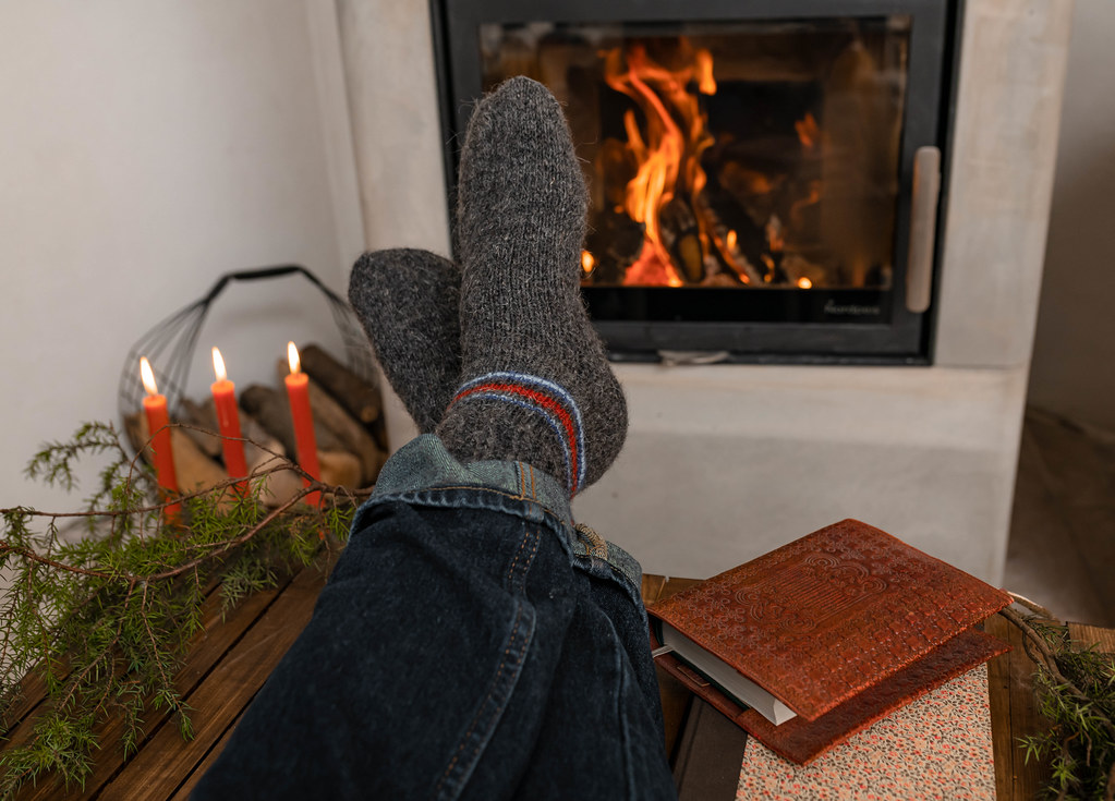 Winter Wool Socks Near Fireplace