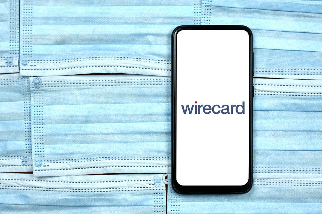 Wirecard  logo on phone. Impact of COVID-19 crisis on Facebook business