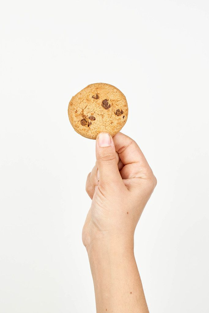 Woman hand holding up chocolate cookies