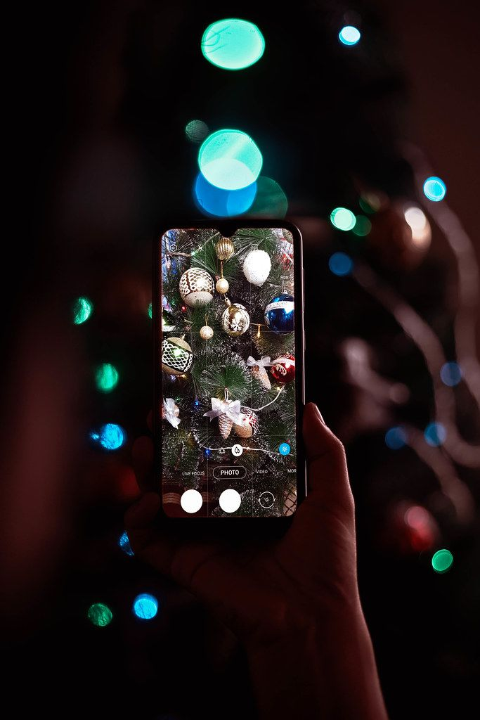 Woman taking picture of Christmas tree decorated