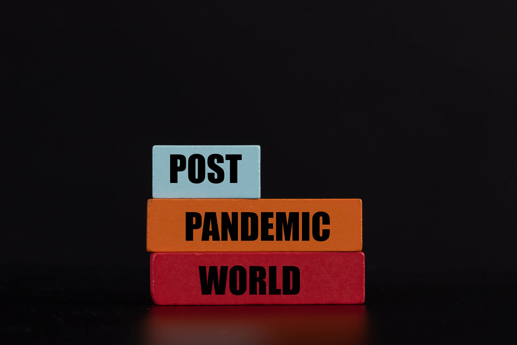 Wooden blocks with Post Pandemic World text