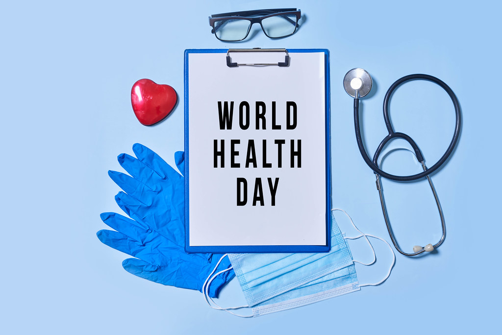 World health day concept with set of medical tools