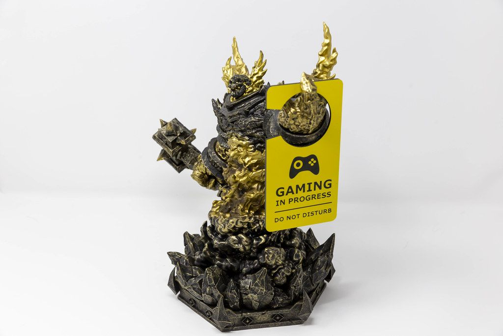 "World of Warcraft character Ragnaros with ""Gaming in progress - do not disturb"" door hanger for gamers"