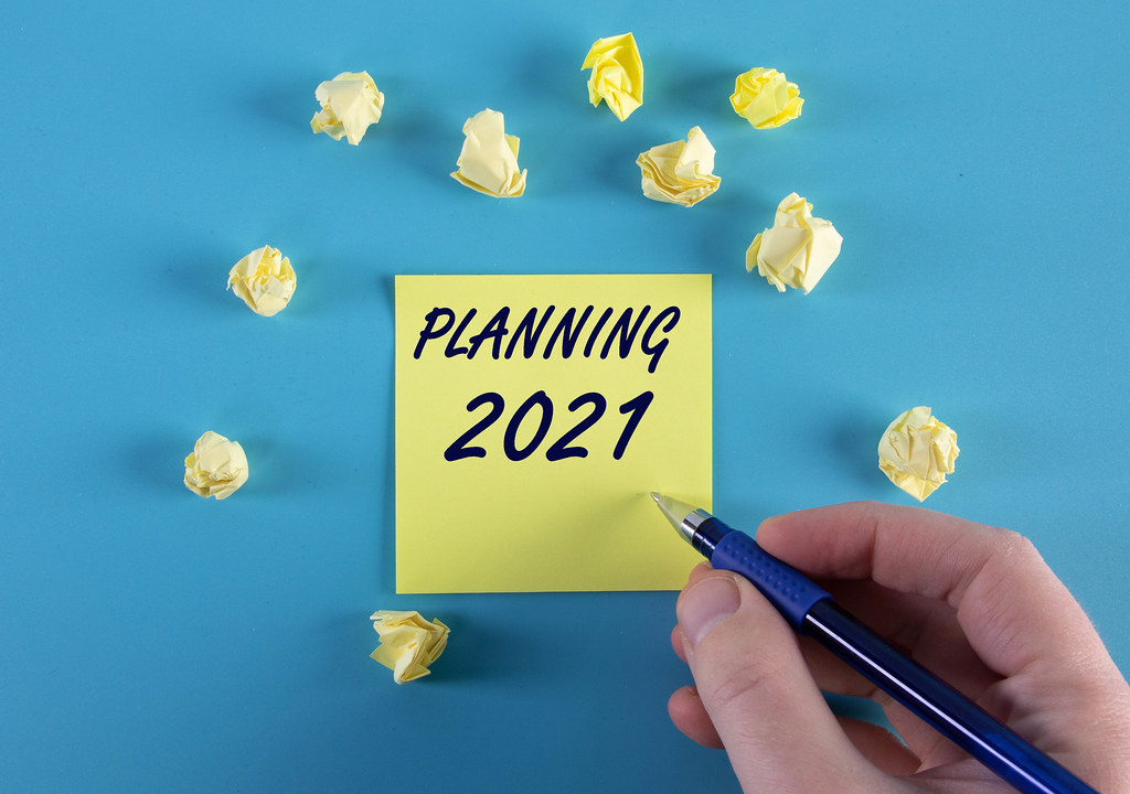 Yellow sticky note with Planning 2021 text