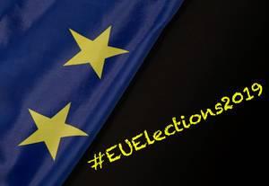 # EUElections2019 Text mit Flagge der Europäischen Union