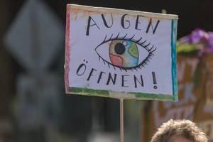 """""""Augen öffnen!"""" - Demonstrationsschild fordert mehr Achtsamkeit und Umweltbewusstsein für die Erde"""