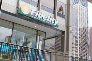 """Fidelity Investments"" sign at the entrance of the investor center of the company located on the riverfront in Chicago"