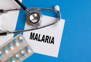"""""""Malaria"""", geschrieben auf blauem Ärzteordner, neben Medikamenten und Stethoskop"""