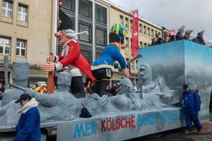 """""""Mer Kölsche danze us der Reih"""" Wagen beim Rosenmontagszug - Kölner Karneval 2018"""