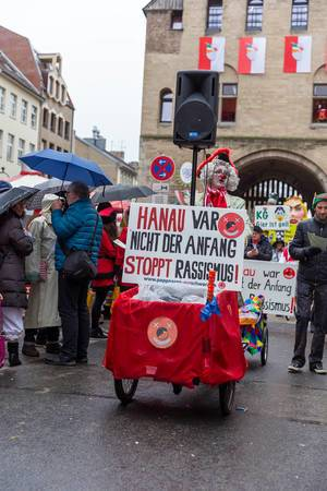 """""""Stop Racism"""" statement during carnival celebration in Cologne, Germany"""