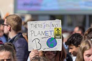 """""""There is no Planet B"""" - girl holds sign at climate strike march in Cologne, Germany"""