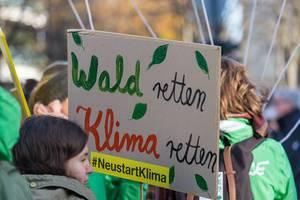 """""""Wald retten - Klima retten"""" als Nachricht von den Demonstranten bei den Fridays for Future am 29.11. in Köln"""