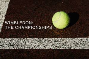 """Wimbledon: The Championships"" - name of the oldest tennis tournament in the world, next to a yellow tennis ball on a tennis court"