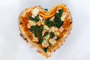 #SupportYourLocal: Pizza with Salmon and Spinach in Heart Shape