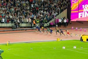 100 Meter Lauf Finale Startschuss IAAF Leichtathletik-Weltmeisterschaften 2017 in London