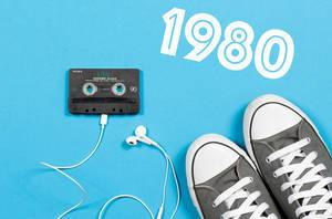 1980s Concept - Audio Tape with Headphones and Sneakers