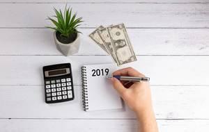 2019 budget planning concept on white desk