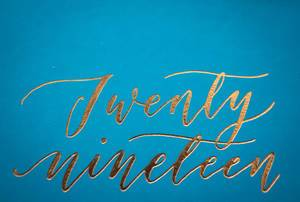 2019 letters on a Blue Background