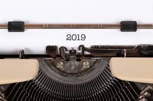 2019 printed on an old typewriter