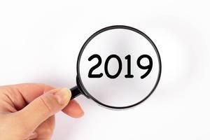 2019  unter der Lupe auf weißem Hintergrund
