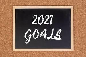 2021 goals on chalkboard