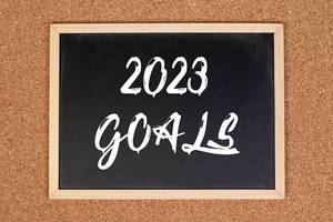 2023 goals on chalkboard