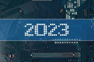 2023 text over electronic circuit board background