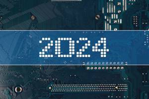 2024 text over electronic circuit board background