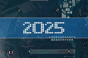 2025 text over electronic circuit board background