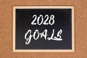 2028 goals on chalkboard