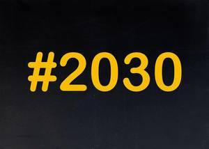2030 written on chalkboard