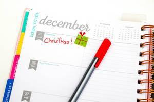 25. Dezember vorgemerkt im Taschenkalender und ein roter Stift