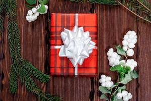 A beautiful gift in a red package with a white bow and Christmas tree branches