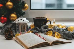 A book with a Christmas tree, a cup of tea and garlands on a background of a window. Winter home relaxation concept (Flip 2019)