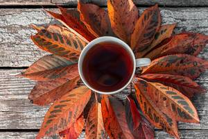 A Cup of tea with autumn leaves on an old wooden background. The view from the top (Flip 2019)