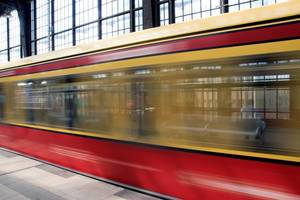 A departng train at the Friedrichstrasse station in Berlin, Germany
