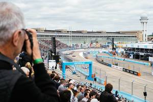 A fan photographs a crash at 2019 Formula E race