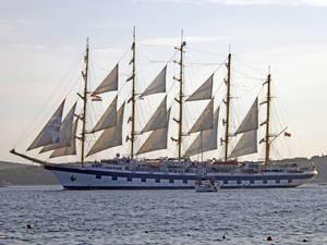 A gorgeous sailing vessel at the shore of Split, Croatia
